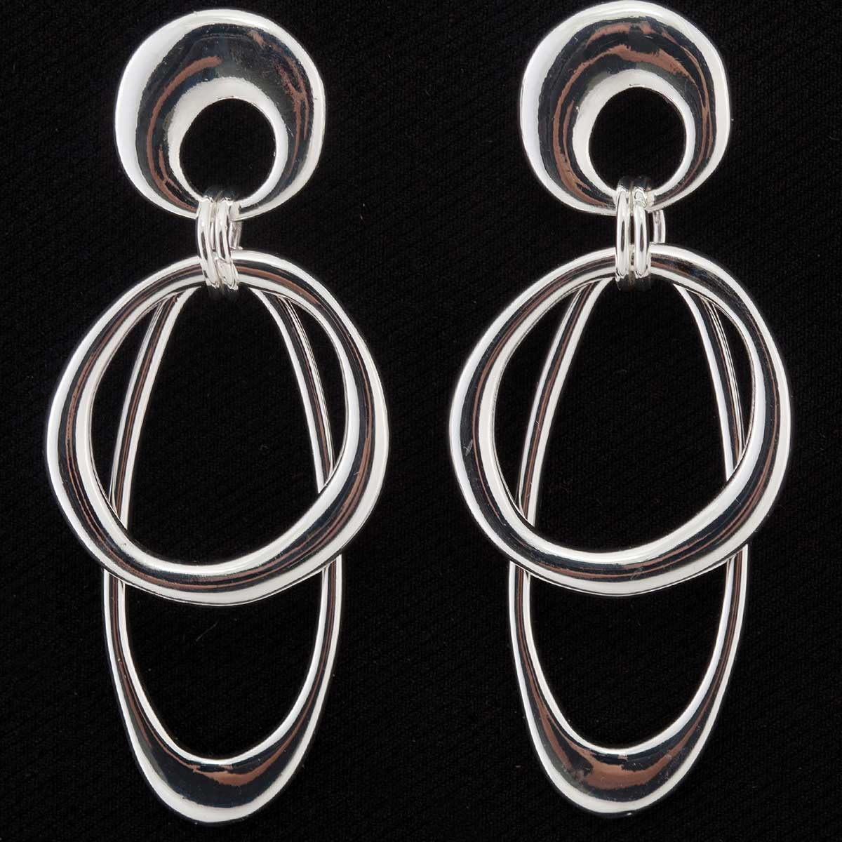 Silver Oval and Circle Post Earrings