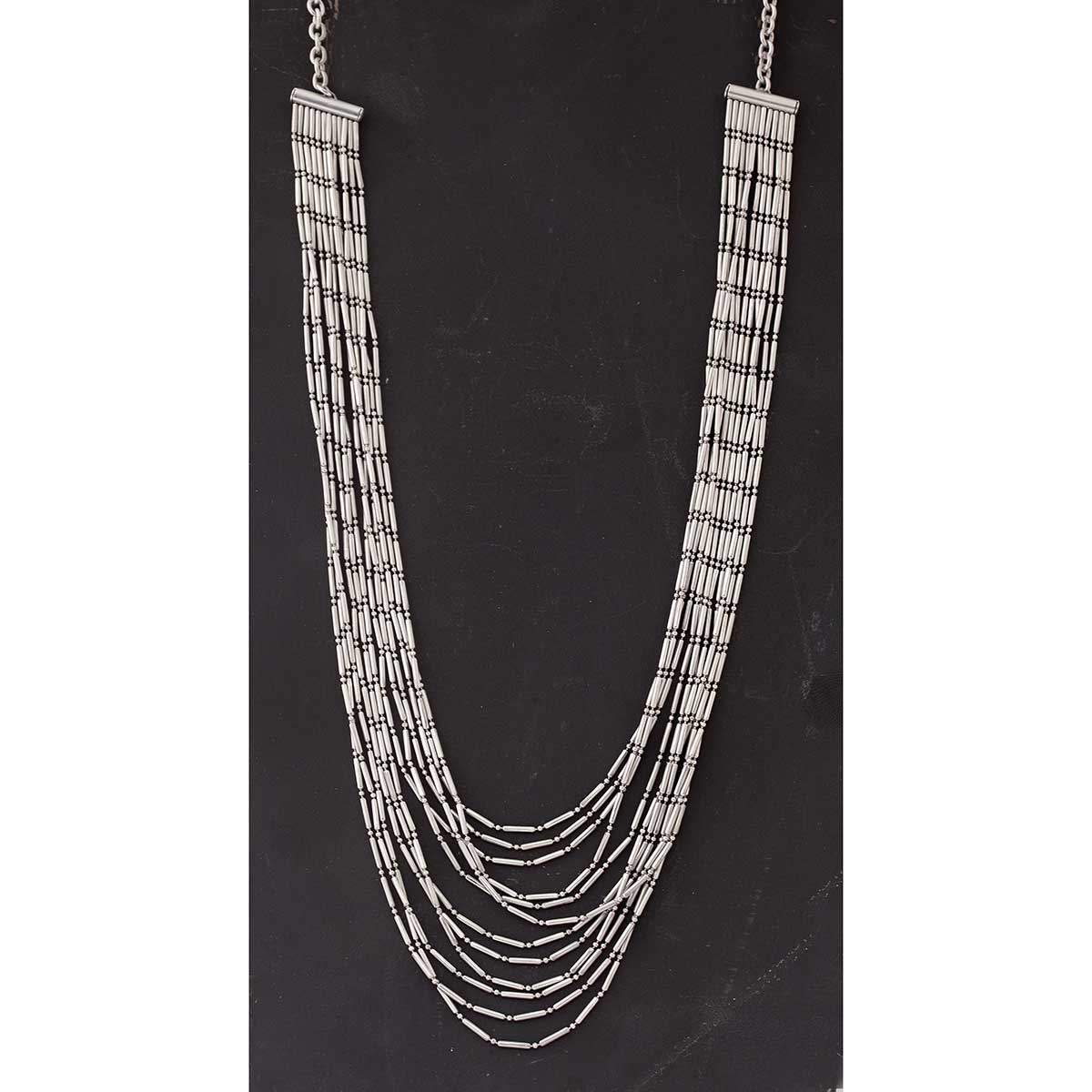 Pewter Multi Link and Strand Necklace