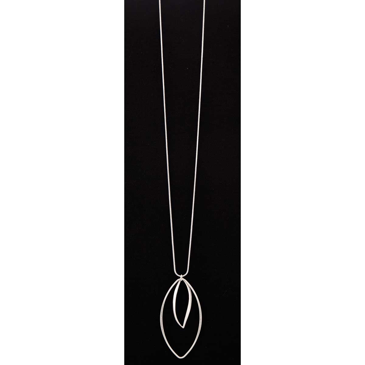 Silver Double Drop on Chain Necklace