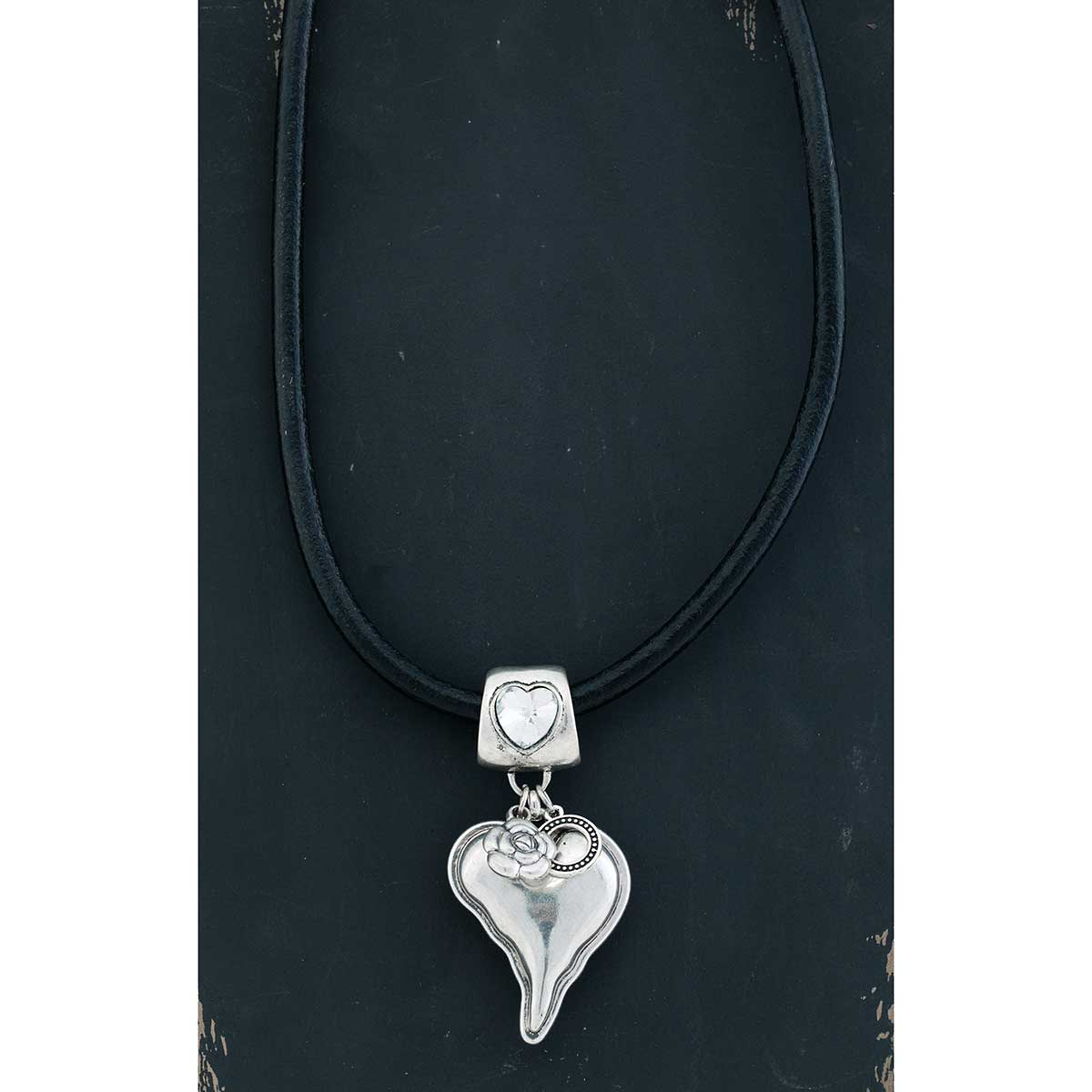 "Silver Heart with Crystal on Heavy Black Cord Necklace 19""-22"""