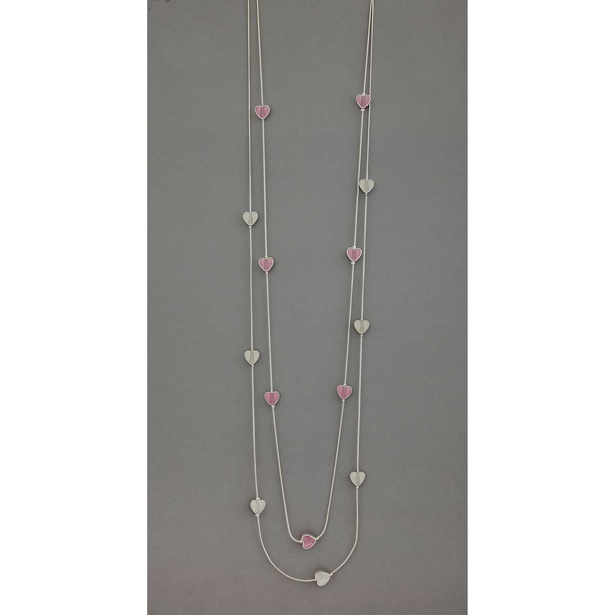 "Pink/Pearl 3/8""x3/8"" Mini Hearts on Double Strand Necklace 42""-4"