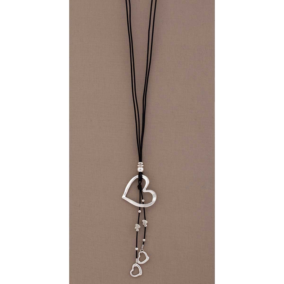 "Silver 2.25""x7""Heart Dangle on Black Cord Necklace 30""-33"""