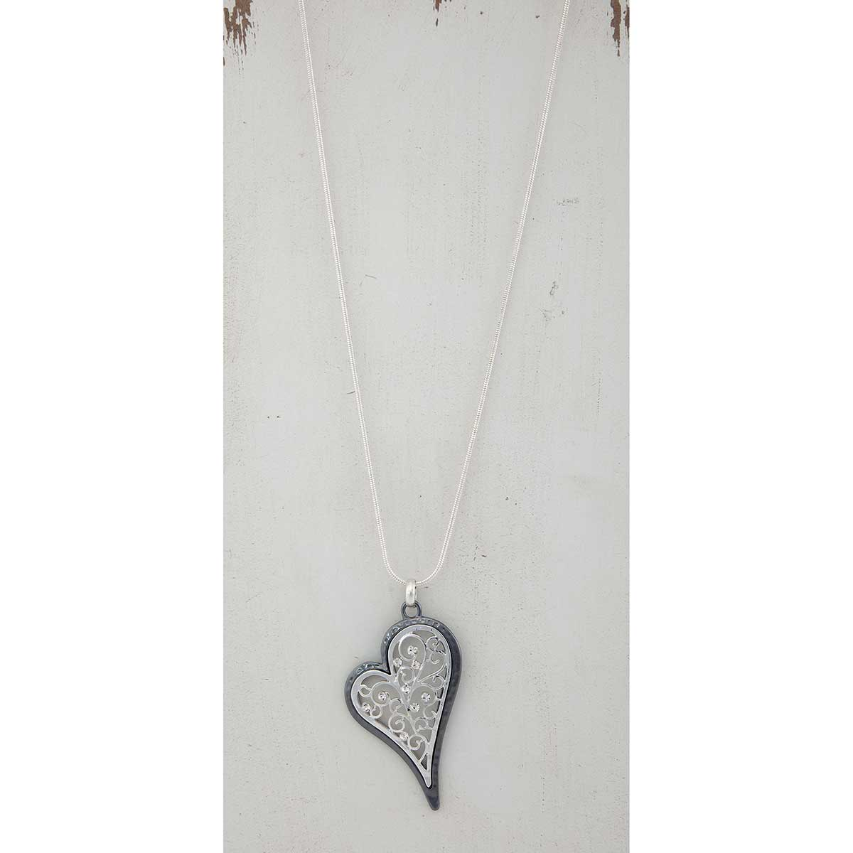 Two-Tone Filigree Heart on Silver Chain Necklace 36""