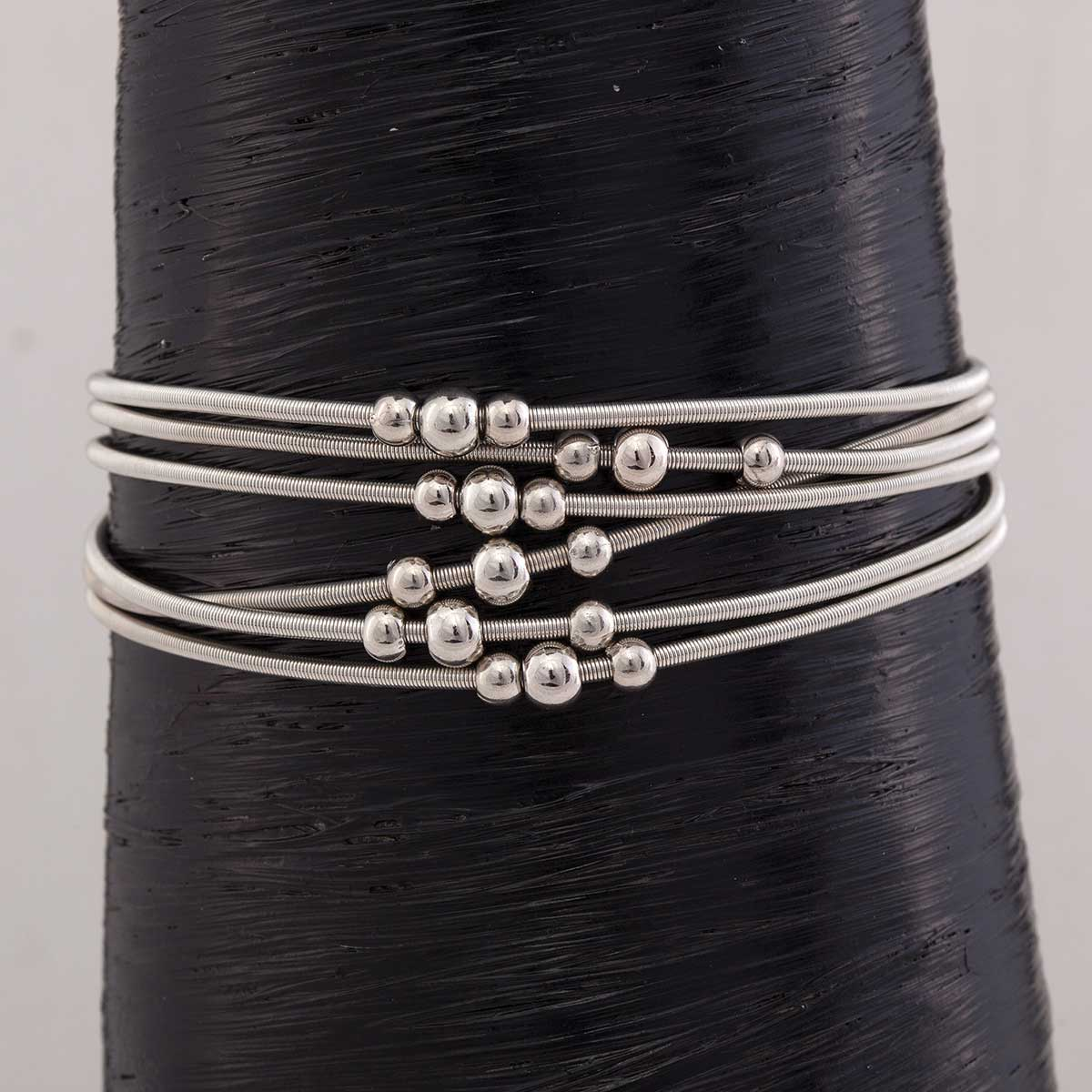 """Silver Mini Beads on 6 Coil Strand Bracelet 1""""x7.5"""" with Magneti"""