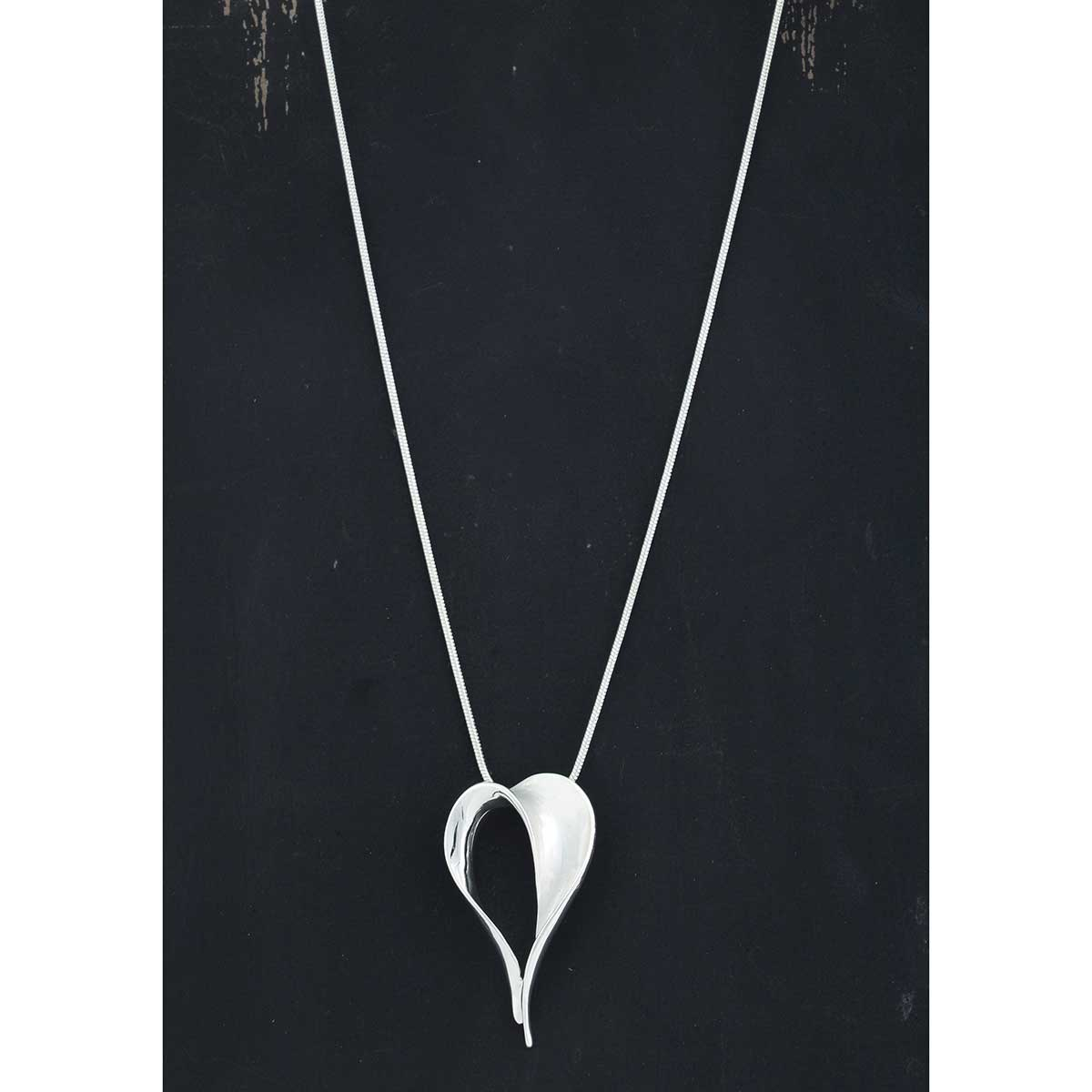 "Satin Silver 1.25""x2"" Heart on Chain Necklace 16""-19"""