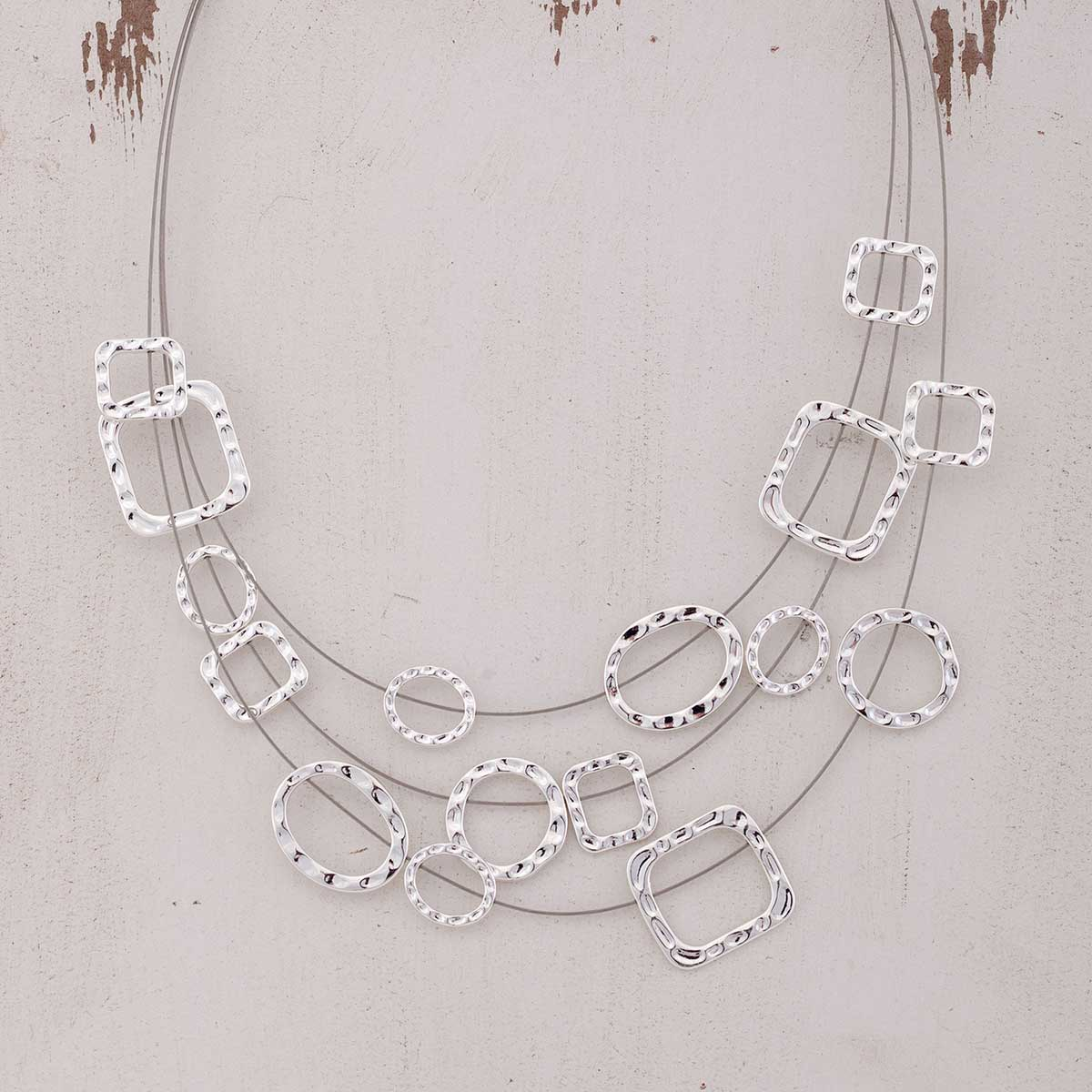 "Silver Circle/Square on 3 Strand Necklace 17""-20"""