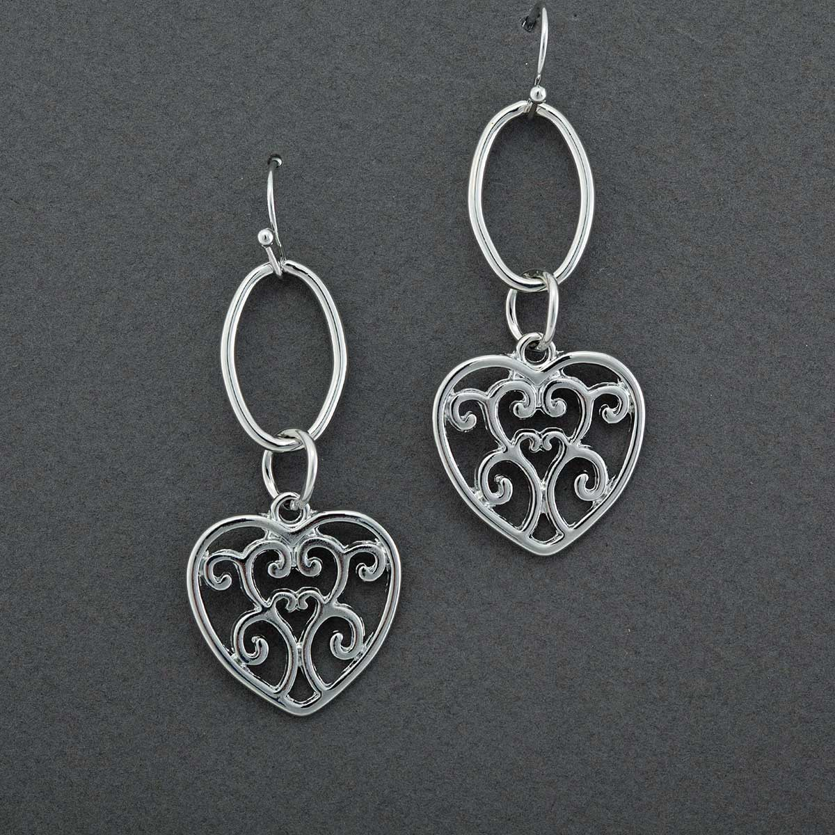 "Silver .75""x1.5"" Heart on Hoop French Wire Earrings"