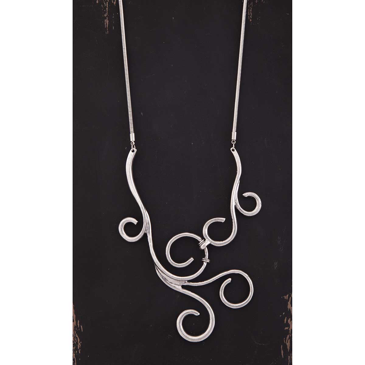 "Silver Scroll 4.5""x3"" Bib on Mesh Cord Necklace 19"""