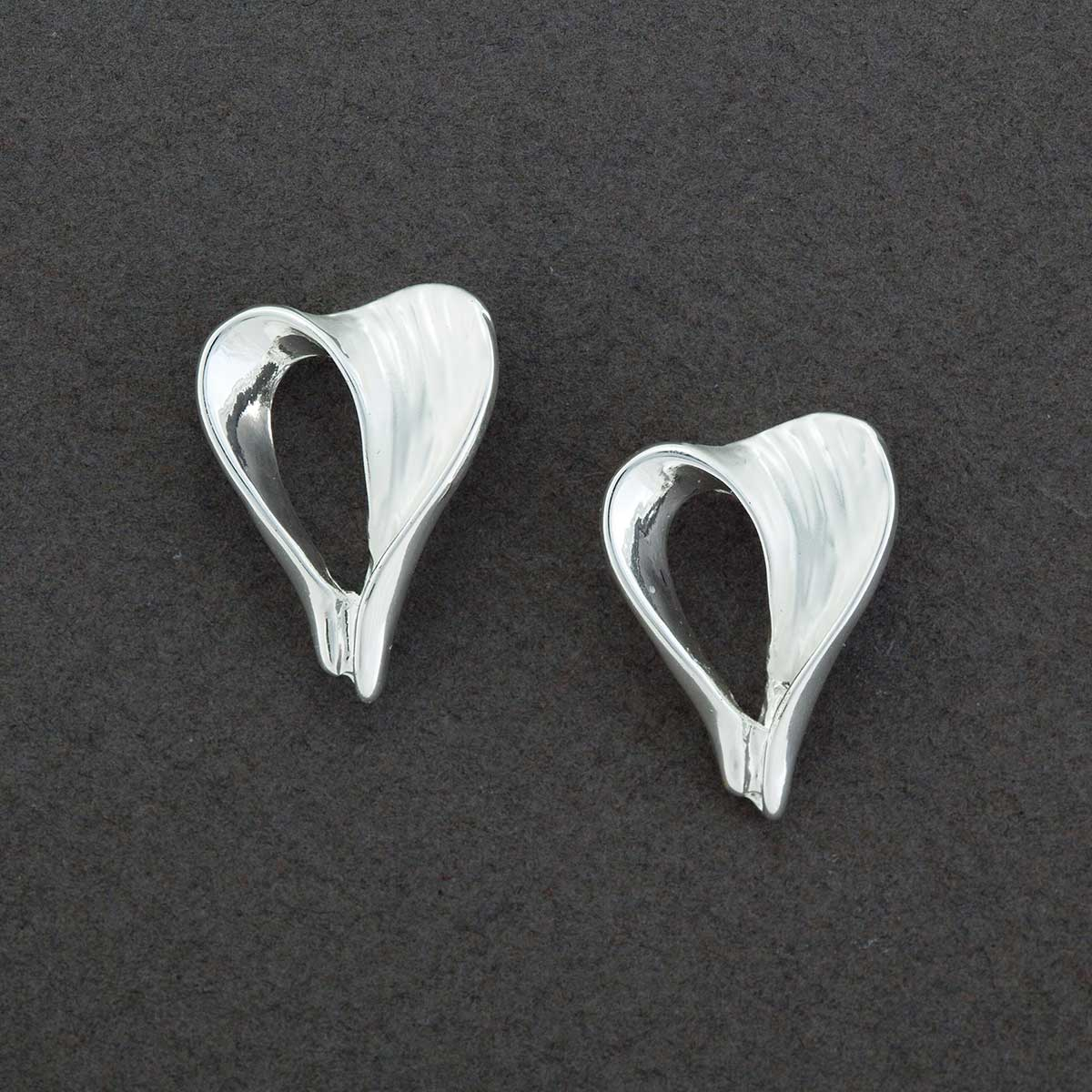 "Satin Silver .5""x.75"" Heart Post Earrings"