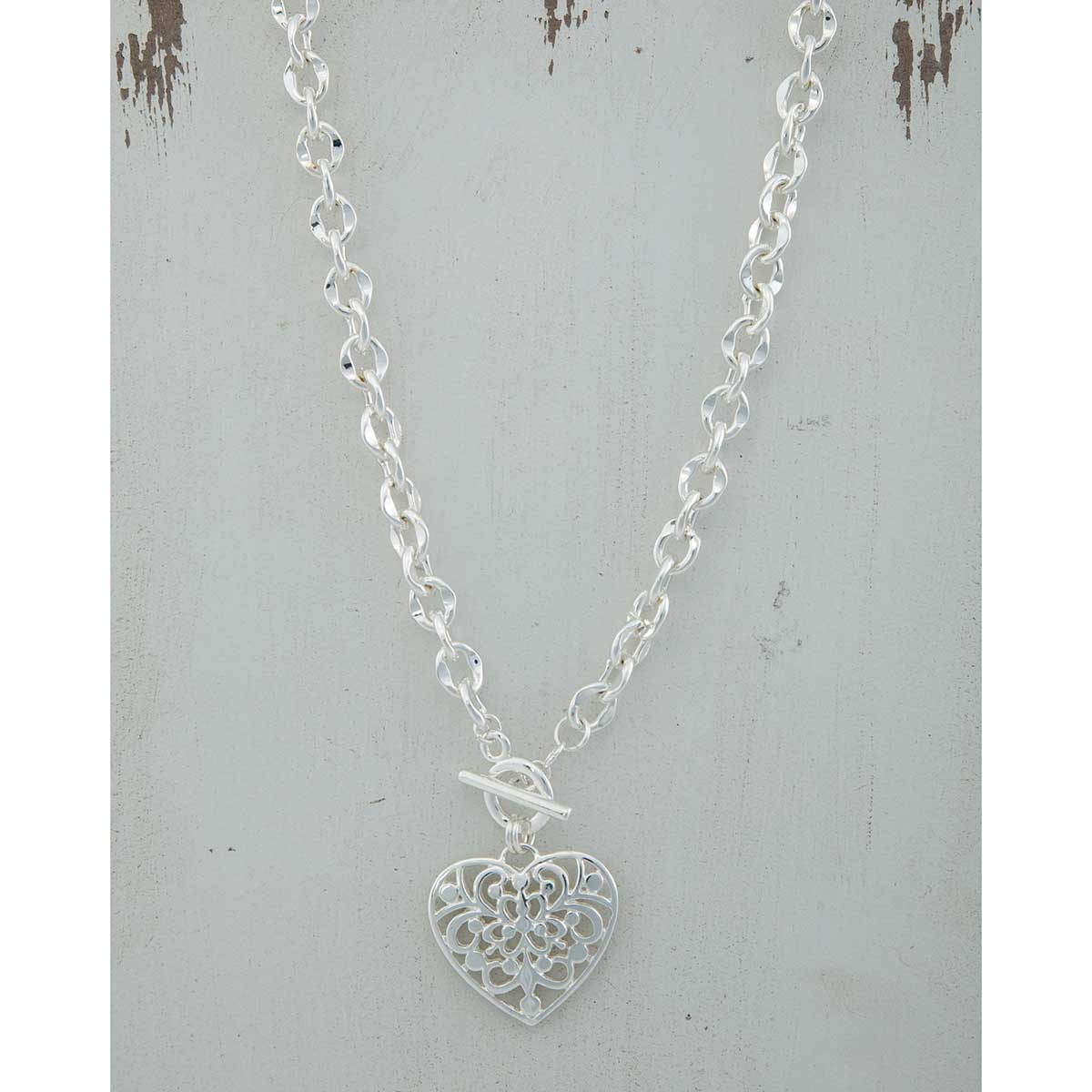 "Silver 1.25""x1"" Scroll Heart on Chain Necklace 17"" with Front To"