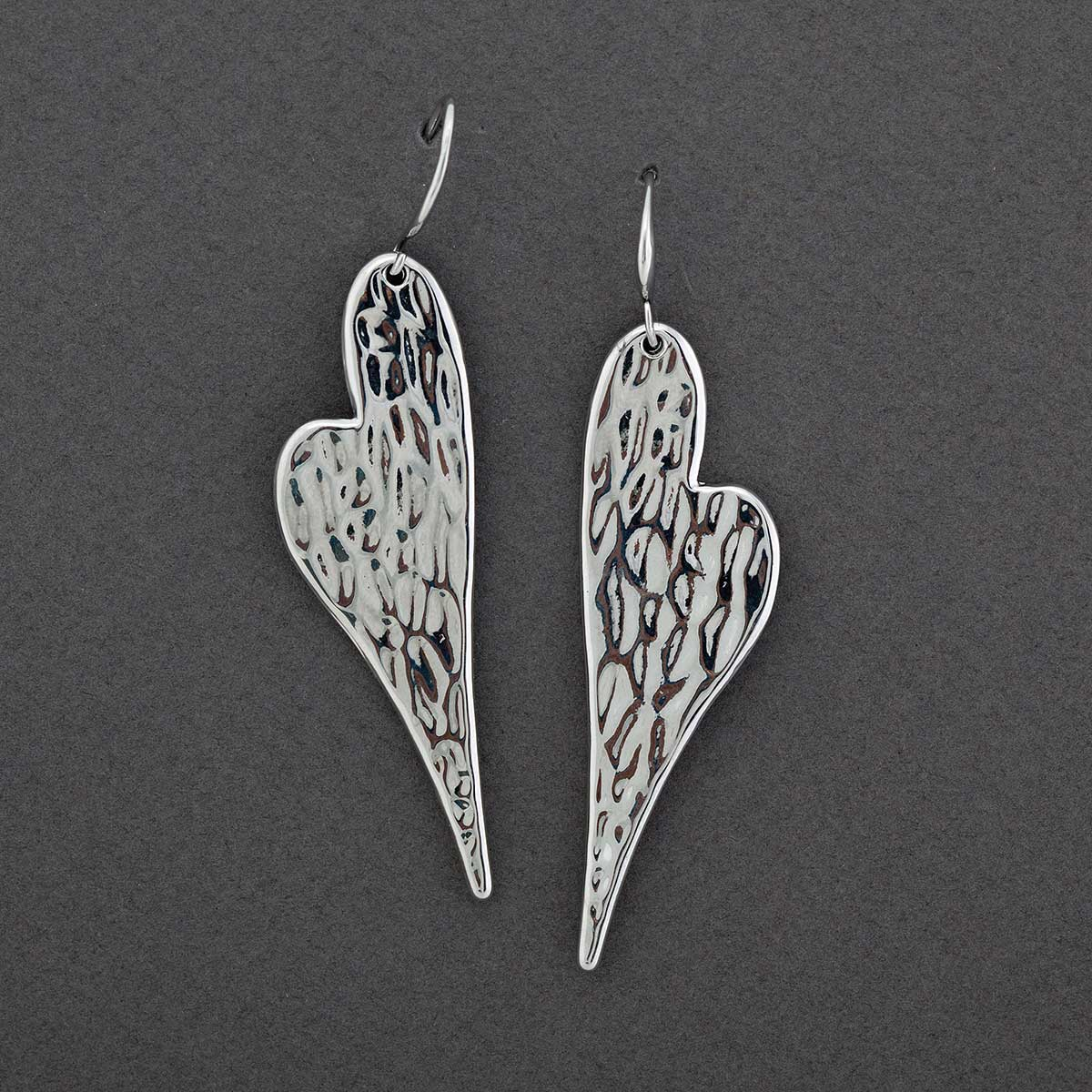 "Hammered Silver .75""x2"" Heart French Wire Earrings"