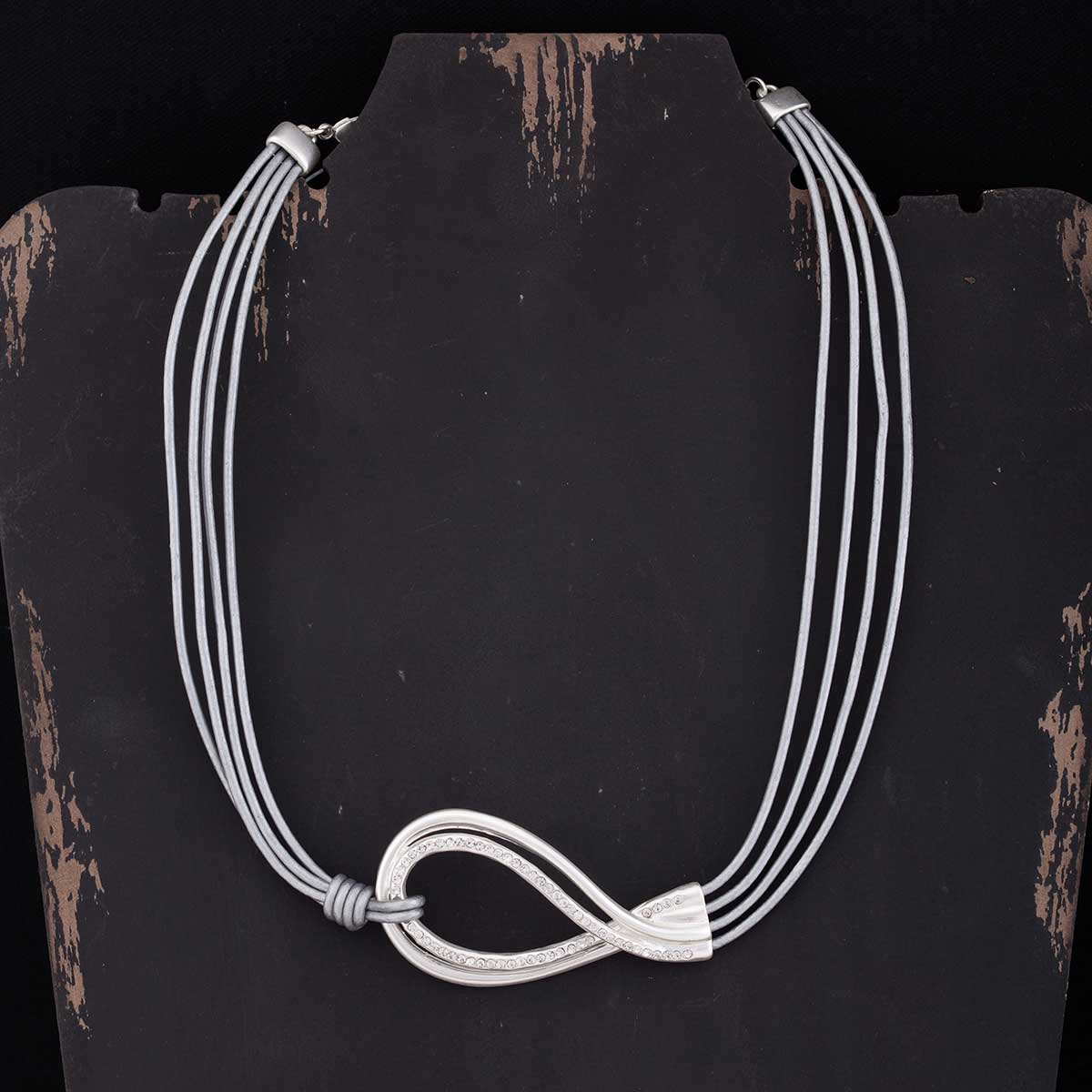 "Satin Silver and Crystal Swirl on Multi Grey Cord Necklace 18""-2"