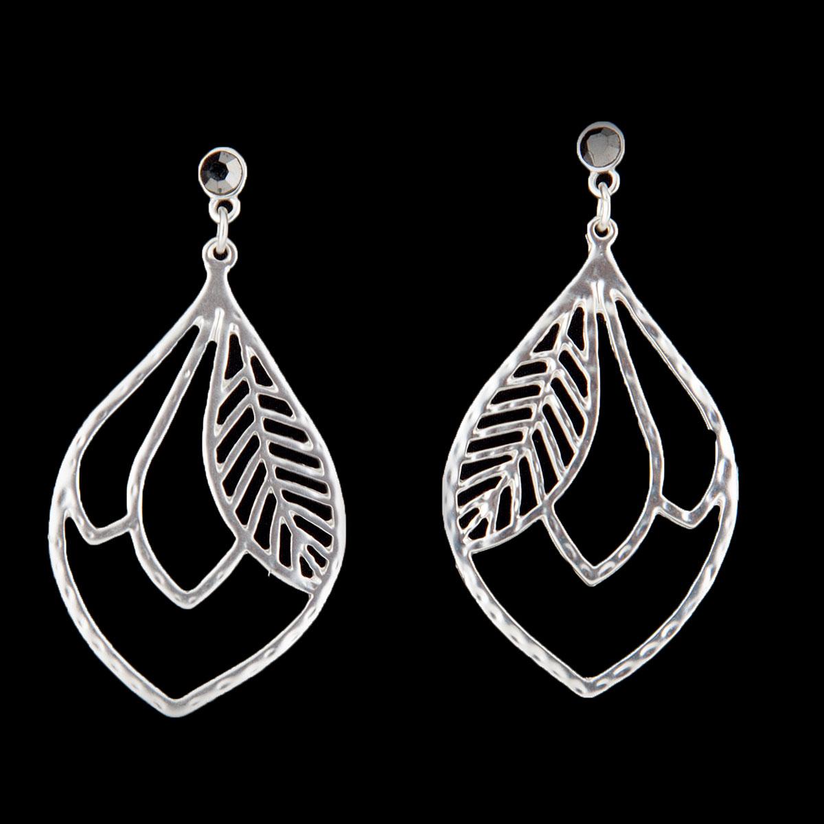"Satin Silver 1.25""x2.5"" Leaf Post Earrings"