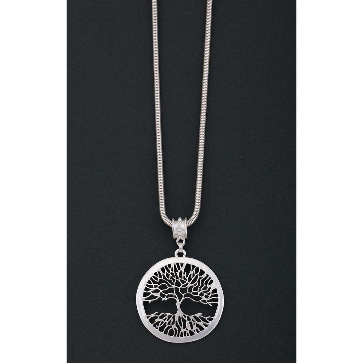 "Satin Silver 2.5""x2.5"" Tree of Life Disc on Chain Necklace 17""-2"