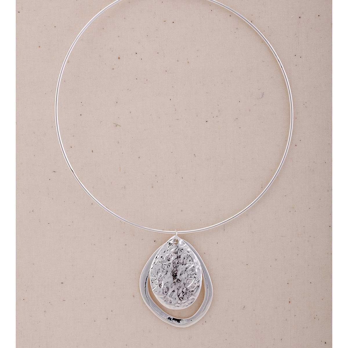 "Silver 1.5""x2"" Double Oval on Collar Necklace 18"""