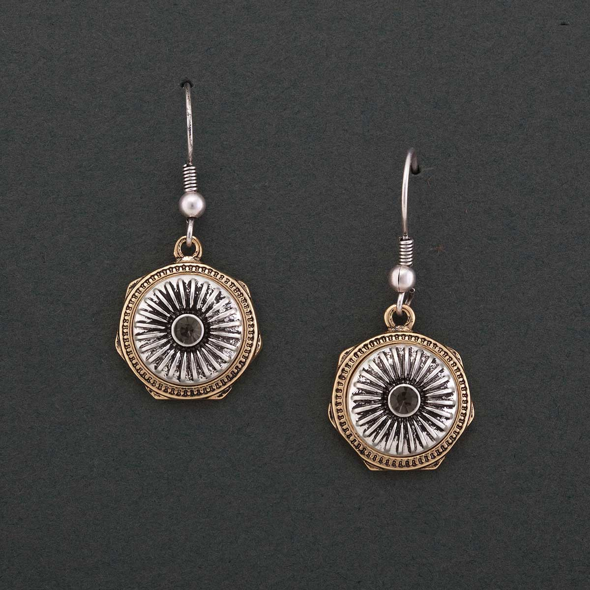 "Silver .75""x.75"" Crest with Gold Edge French Wire Earrings"