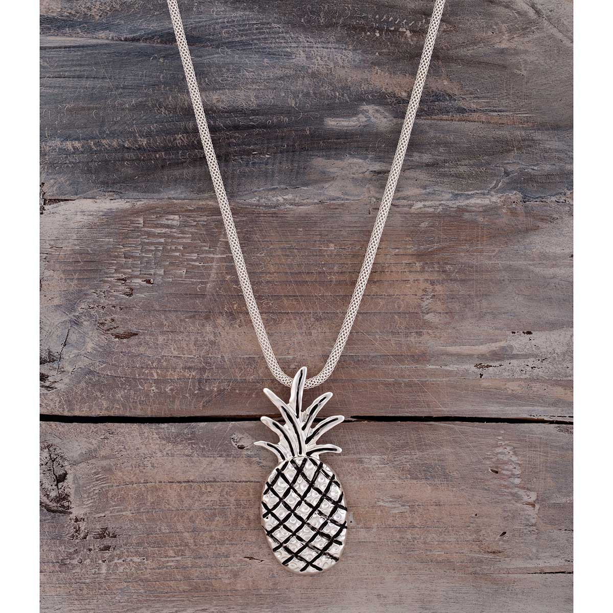 "Satin Silver 1""x2.75"" Pineapple on Mesh Chain Necklace 16""-19"""