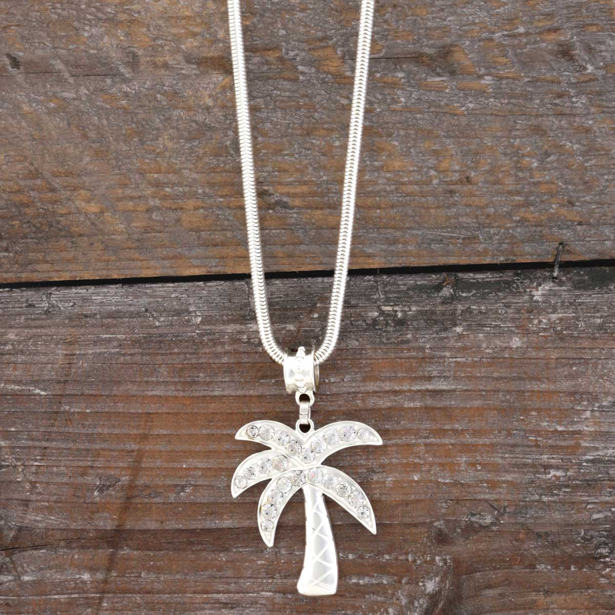 "Matte Silver 1.875""x2.25"" Palm Tree with Crystals on Chain Neckl"