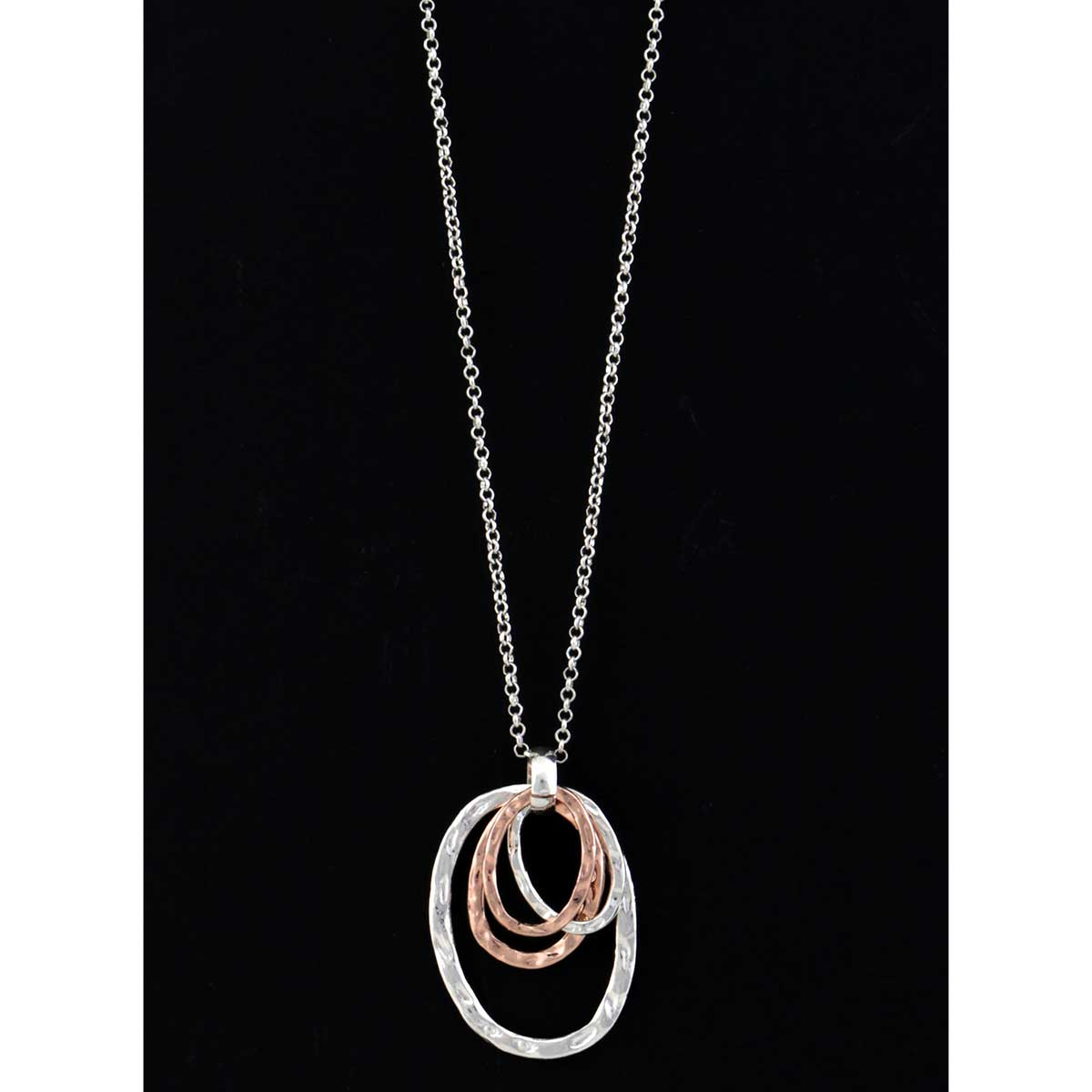 "4 Silver/Rose Gold 1.75""x2.25"" Ovals on Chain Necklace 32""-34.25"
