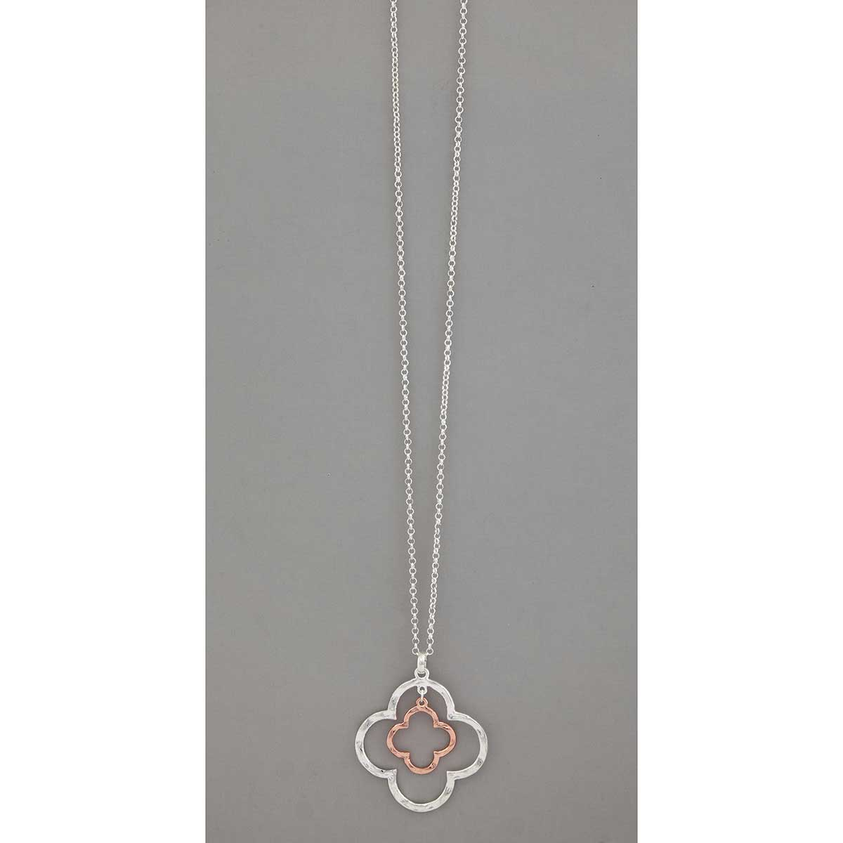 "Silver/Rose Gold 2.25""x2.5"" Celtic Pendant on Chain Necklace 32"""