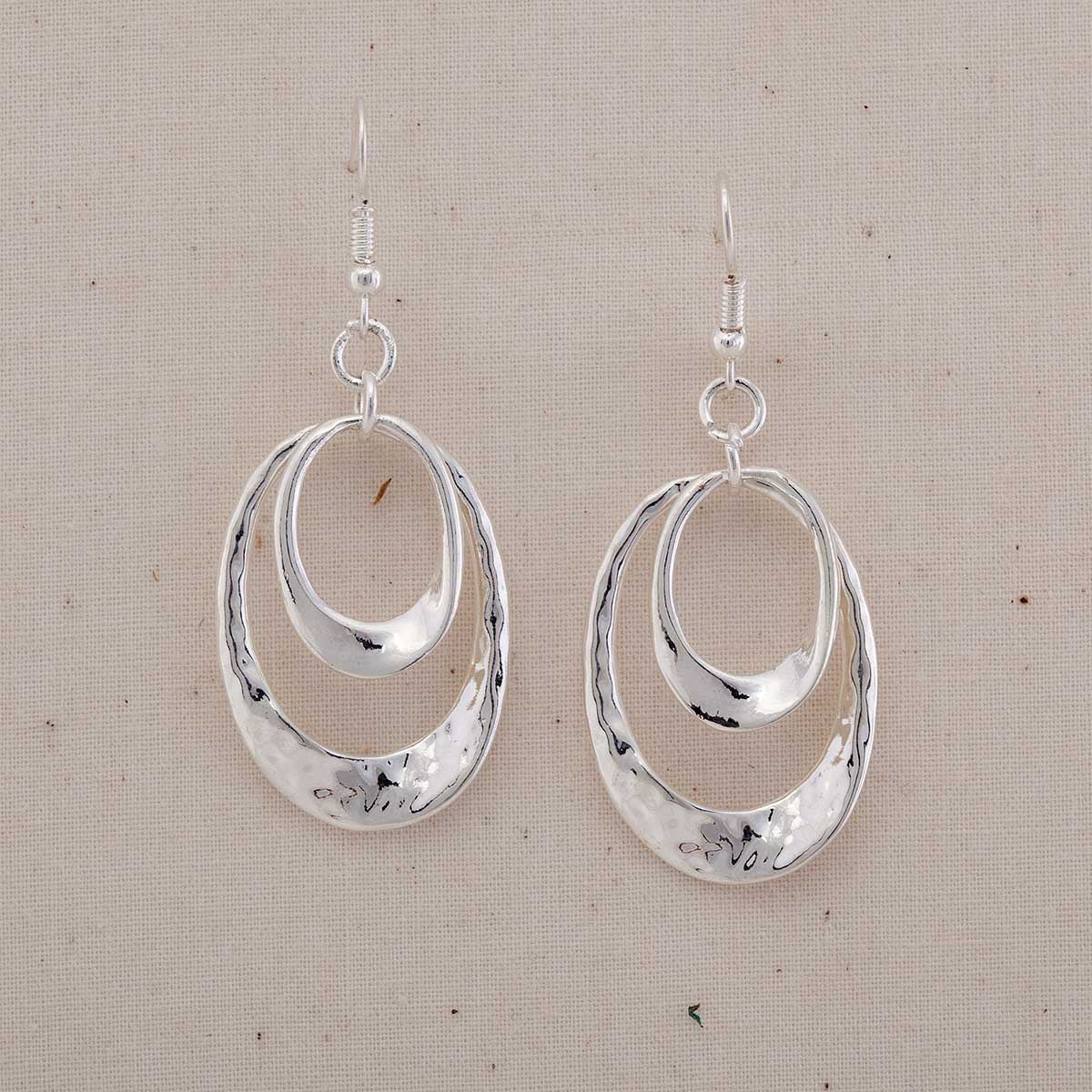 "Hammered Silver .875""x1.25"" Double Oval Hoop French Wire Earring"