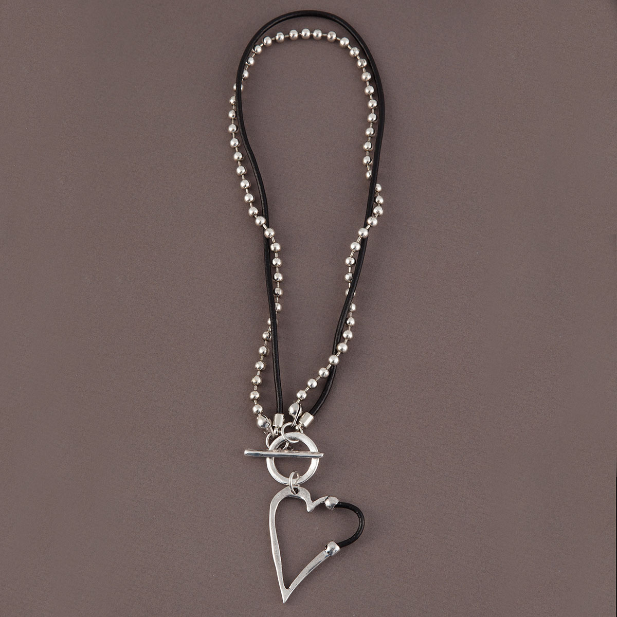 "Silver 1.25""x3"" Heart with Black Accent on Chain and Cord Neckla"