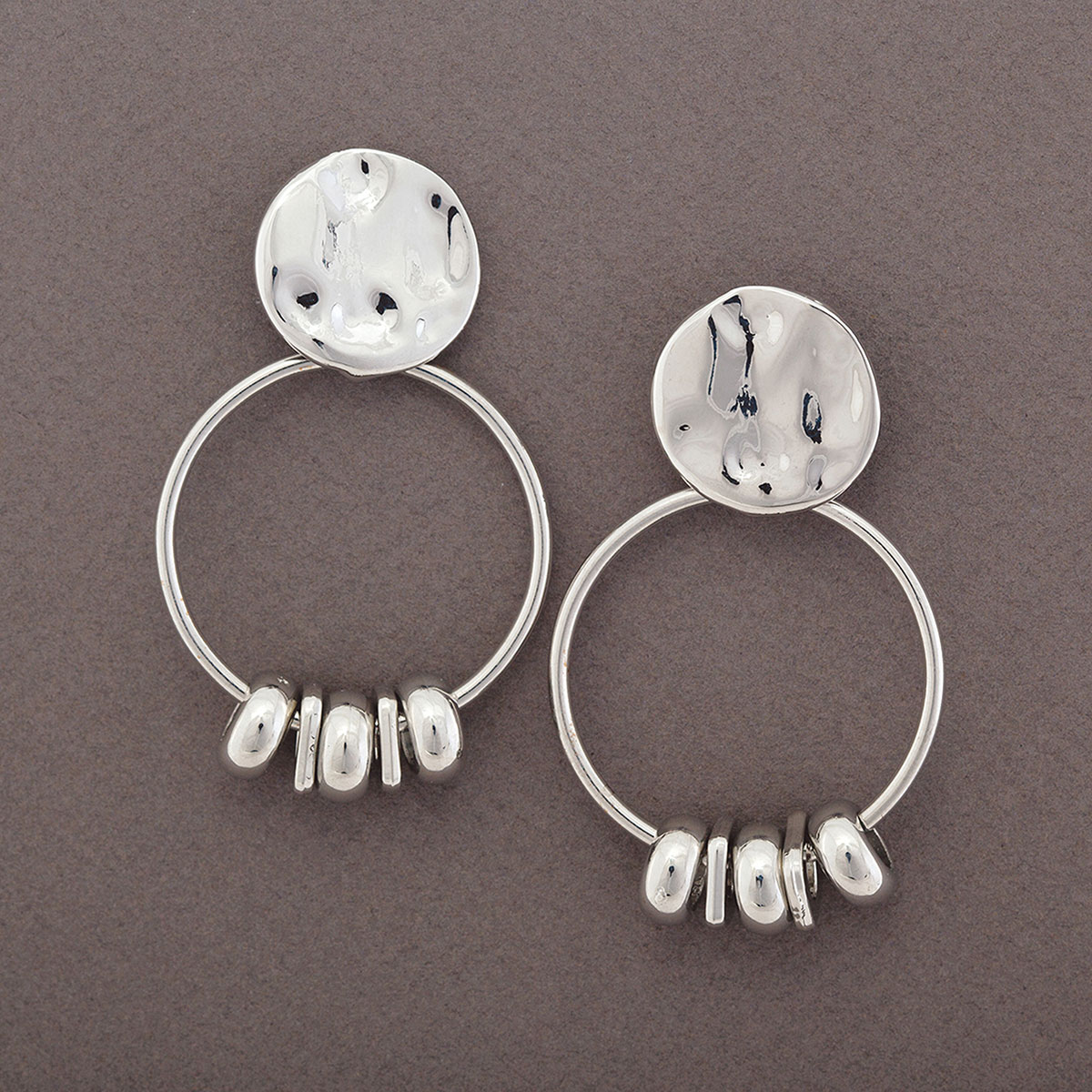 "Brushed Silver 1.25""x2.25"" Hoop with Mini Beads Post Earrings"