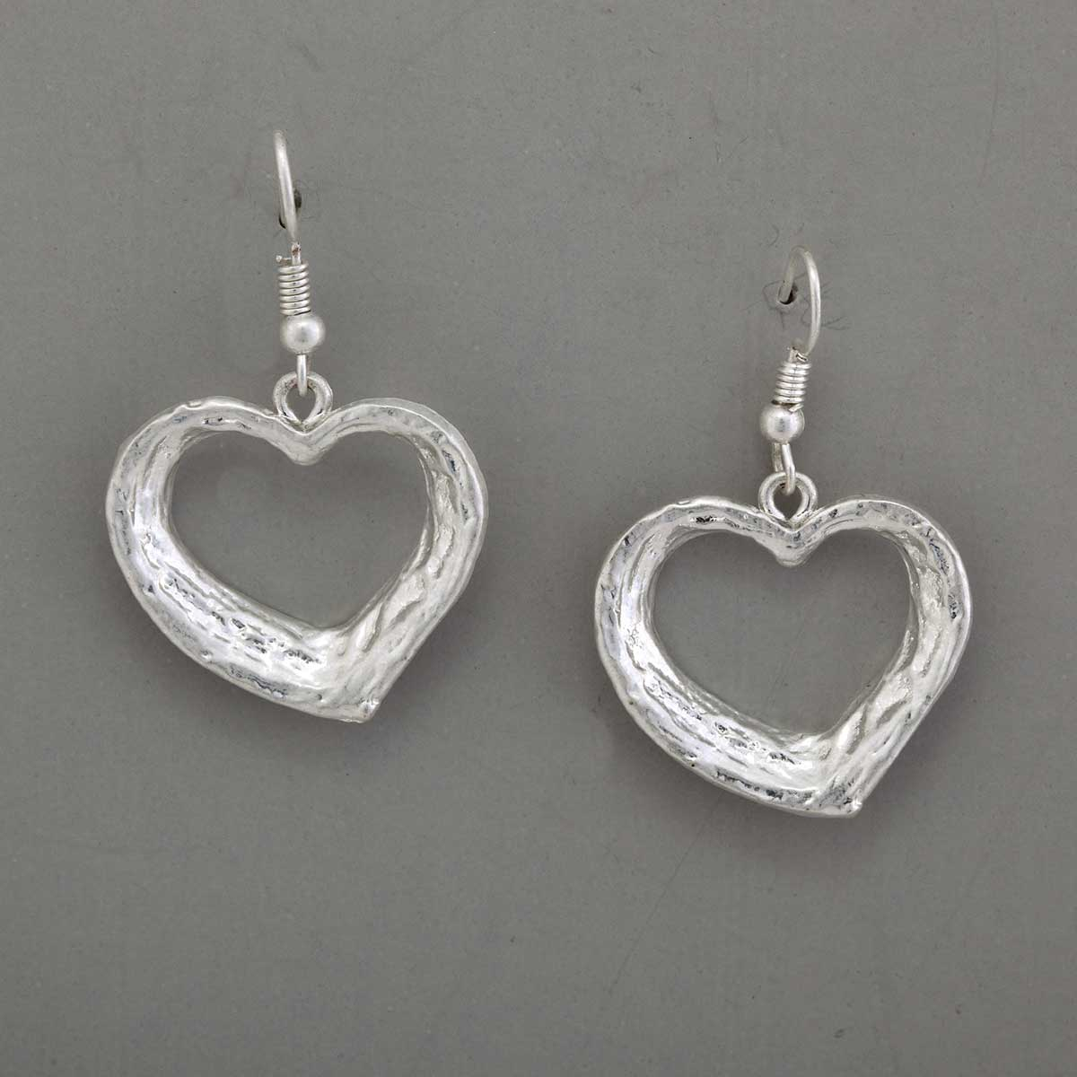 "Hammered Satin 1.125""x1"" Silver Heart French Wire Earrings"