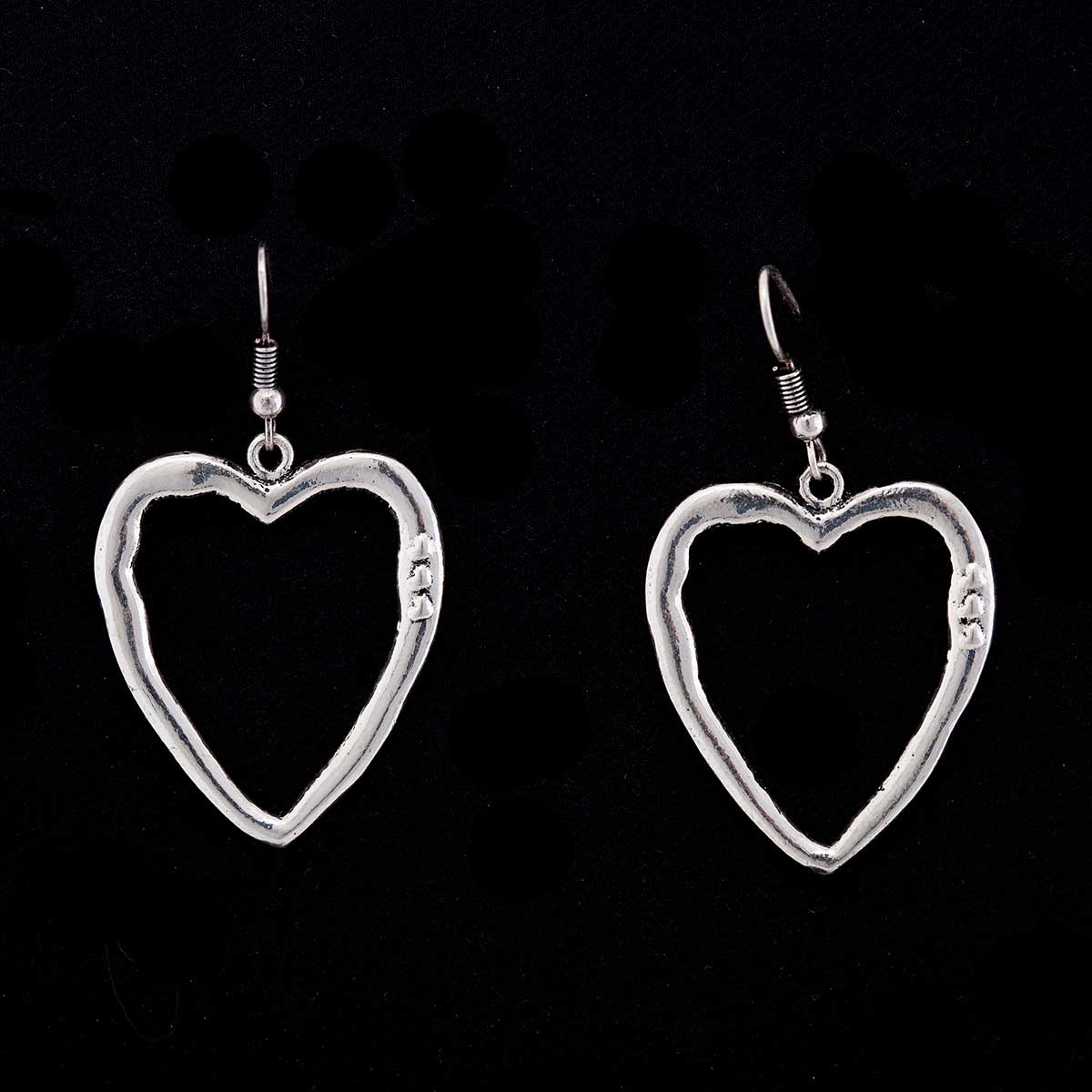 "Silver 1.25""x1.25"" Heart with 3 Mini Hearts French Wire Earrings"
