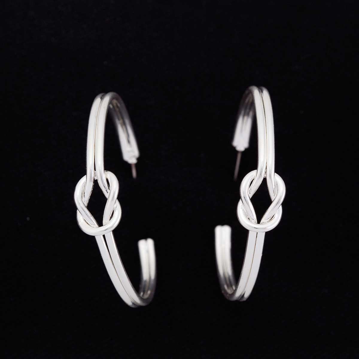 """Silver 1.5""""x1.5""""Love Knot Post Earrings"""