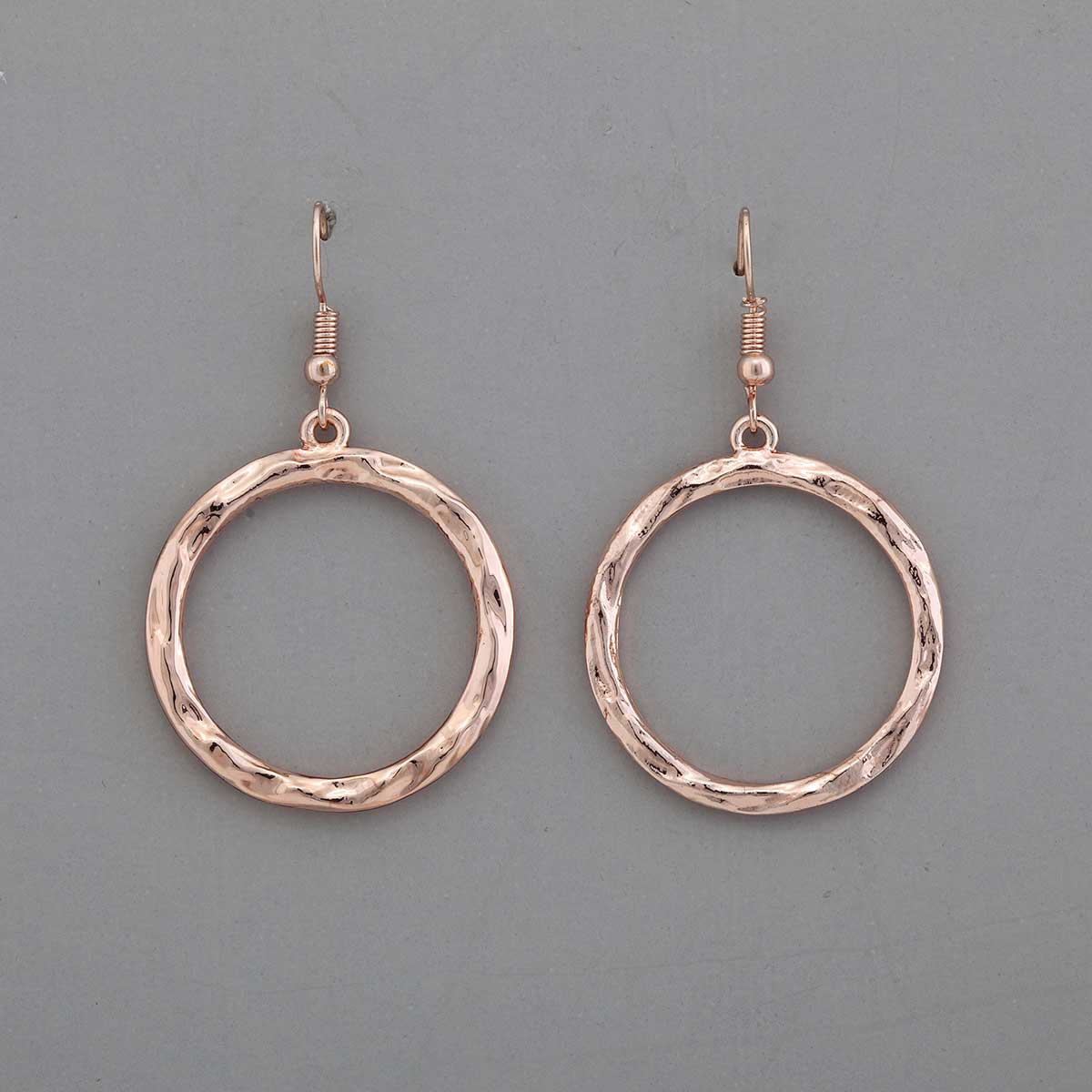 "Rose Gold 1.25""x1.25"" Hoop French Wire Earrings"