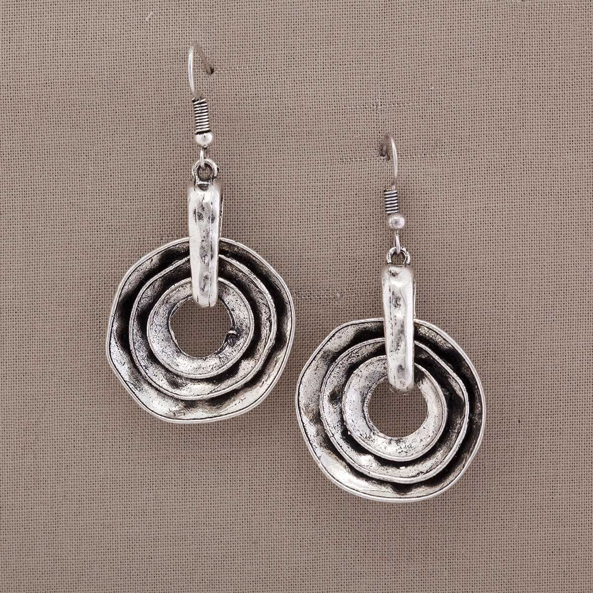 "Antique Silver 1""x1.25"" Triple Nested Circles French Wire Earrin"