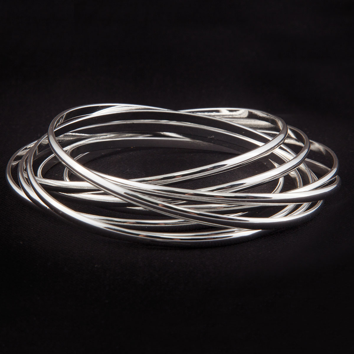 "Shiny Silver Gypsy Bangle Bracelet 1""x9"" Set of 8"