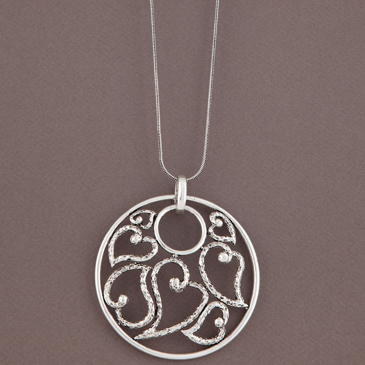 Silver Round Heart Medallion on Chain Necklace