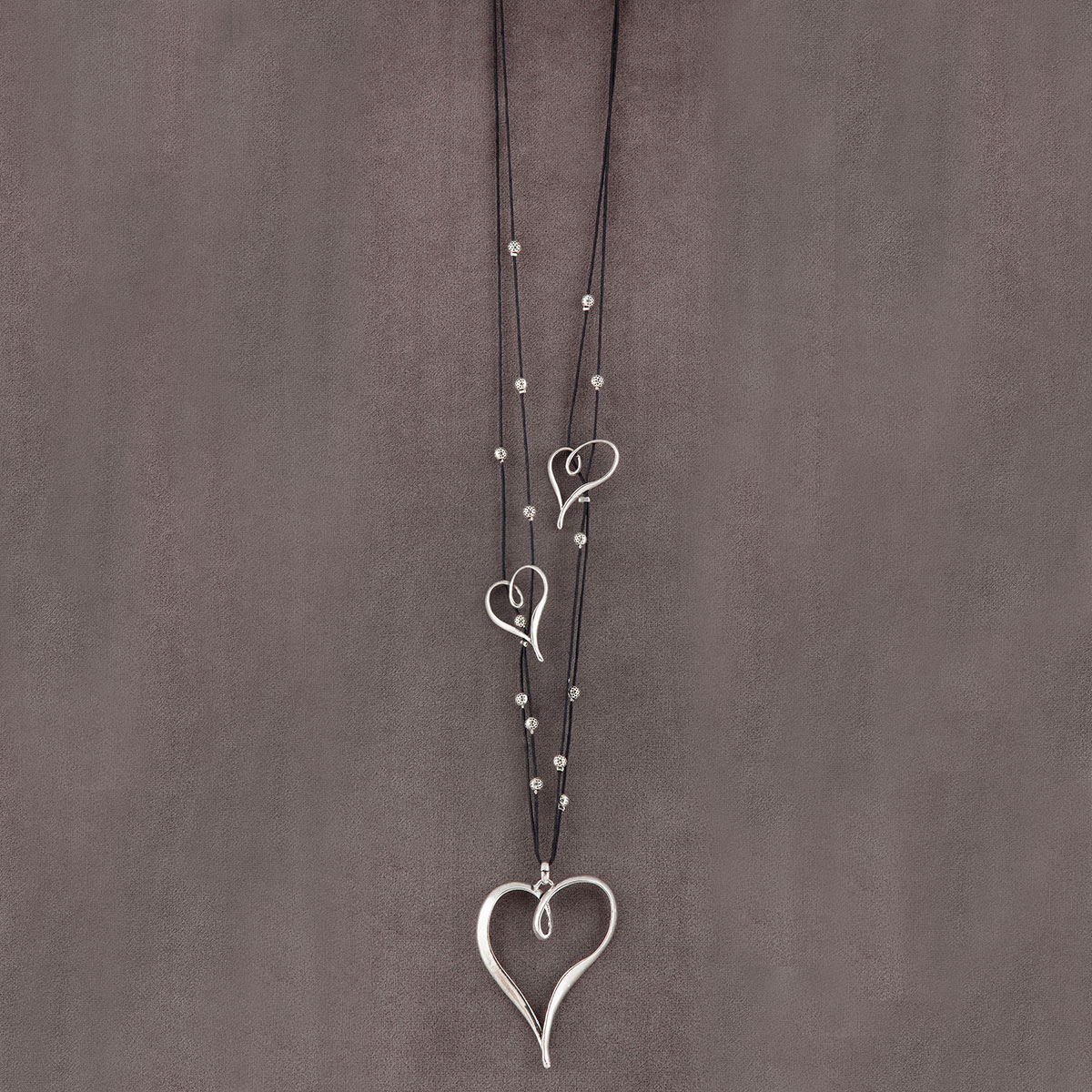 Antique Silver Triple Heart with Beads Double Strand Chain Neckl