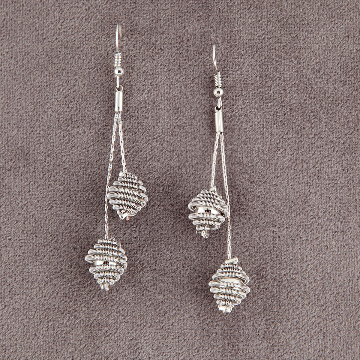 Silver Textured Ball French Wire Earring