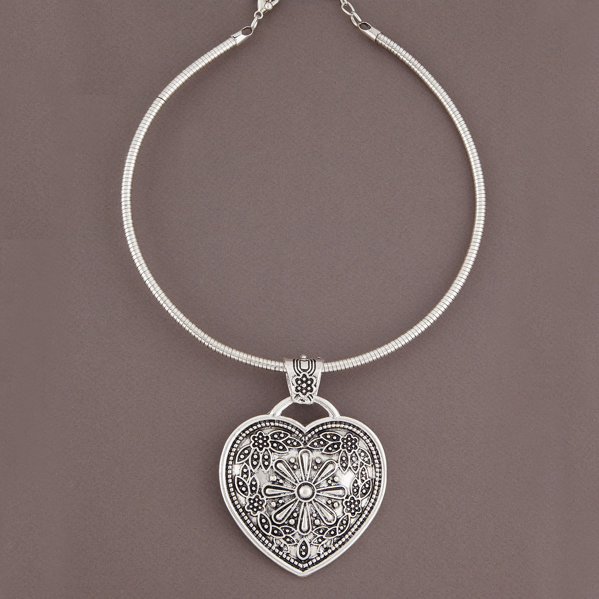 Antique Silver Heart Medallion Necklace