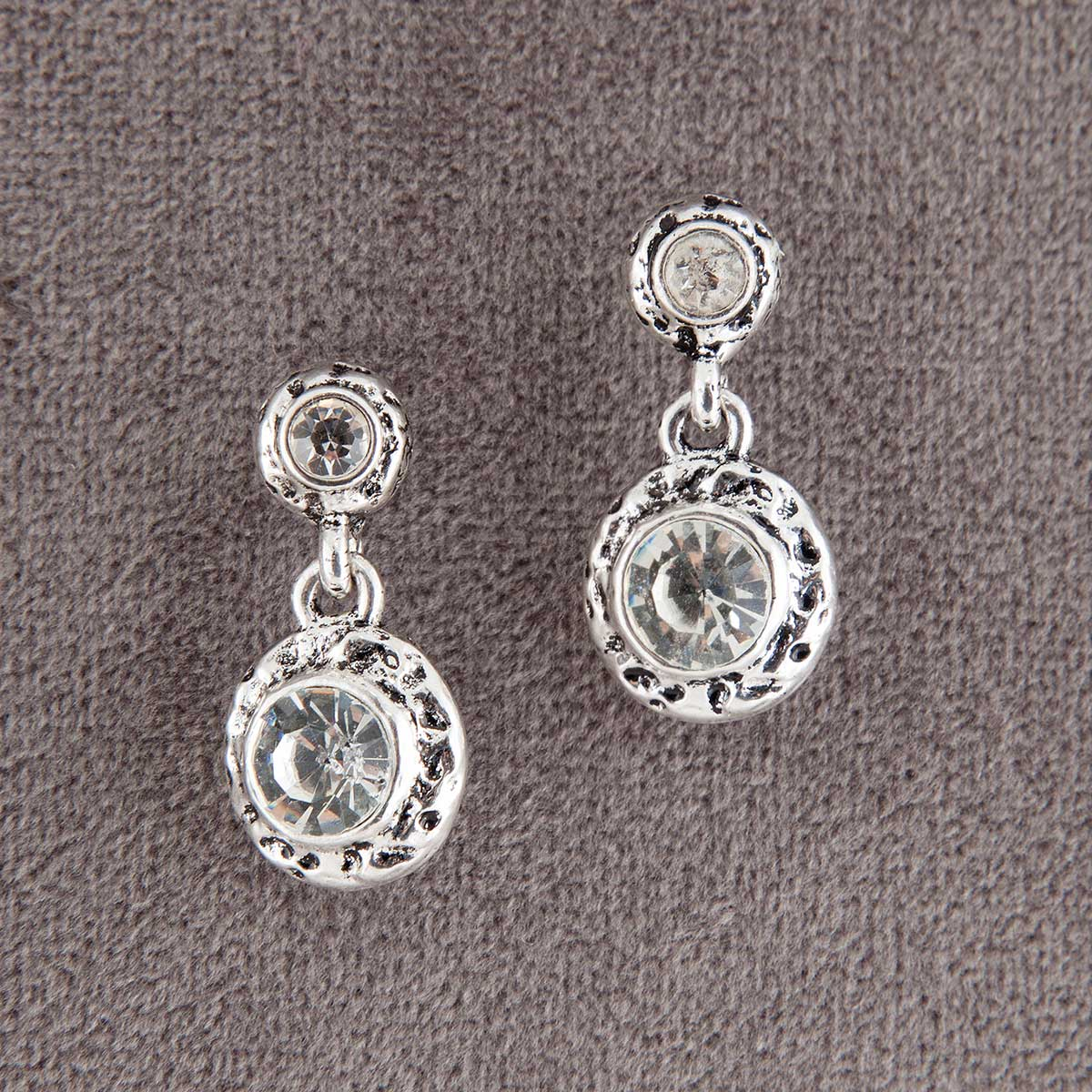 Silver Discs with Crystals Dangle Post Earrings