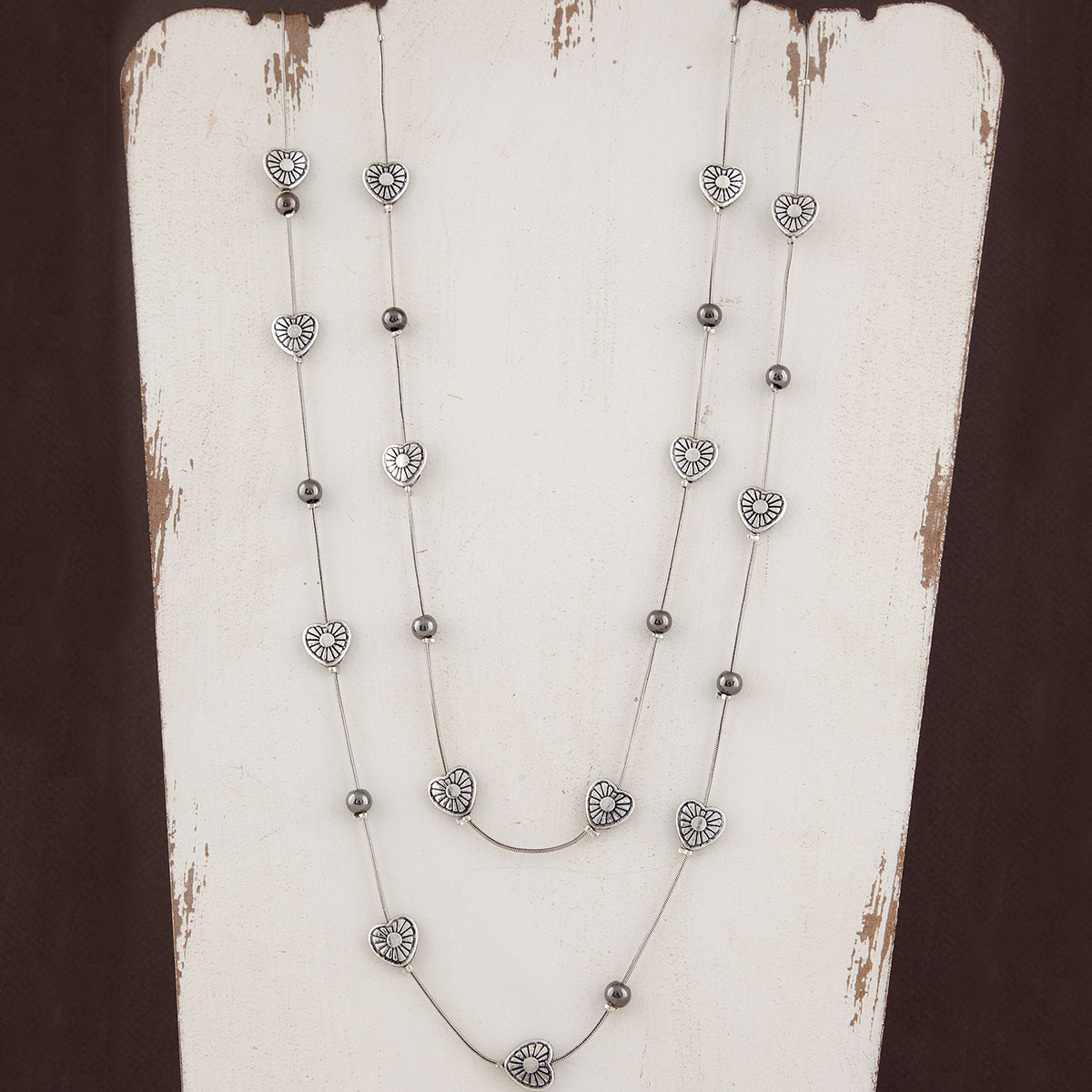 Silver Mini Hearts with Beads on Double Strand Chain Necklace