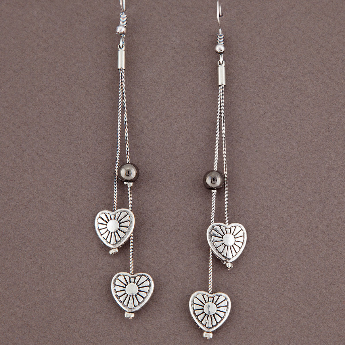 Antique Silver Mini Hearts with Beads French Wire Earrings