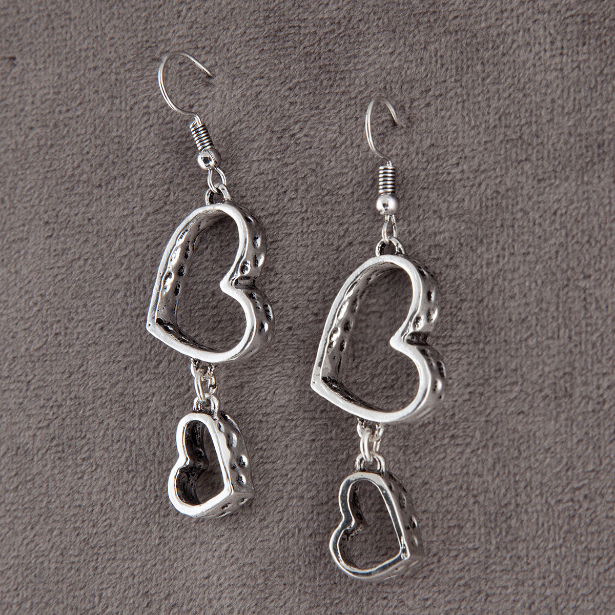 Antique Silver Double Heart Dangle French Wire Earrings