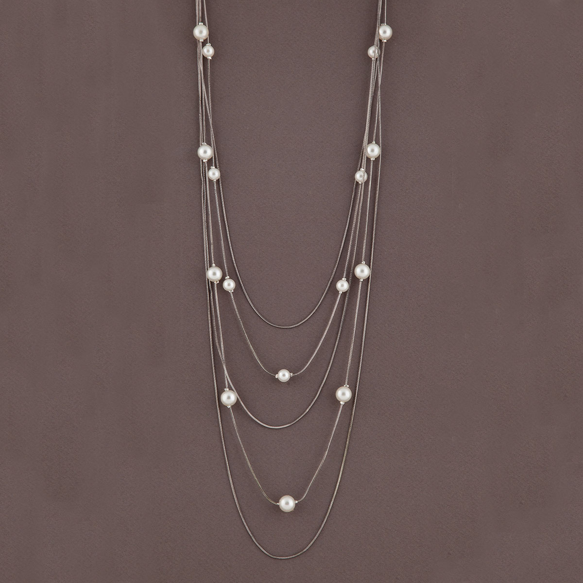 Antique Silver Multi Strand Chain Necklace with Pearls