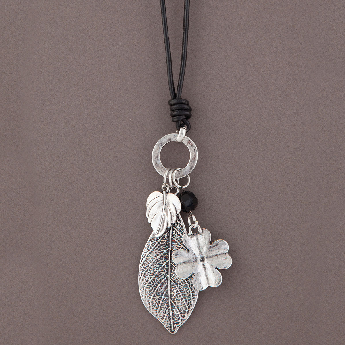 Antique Silver Leaves Dangle on Black Cord Necklace