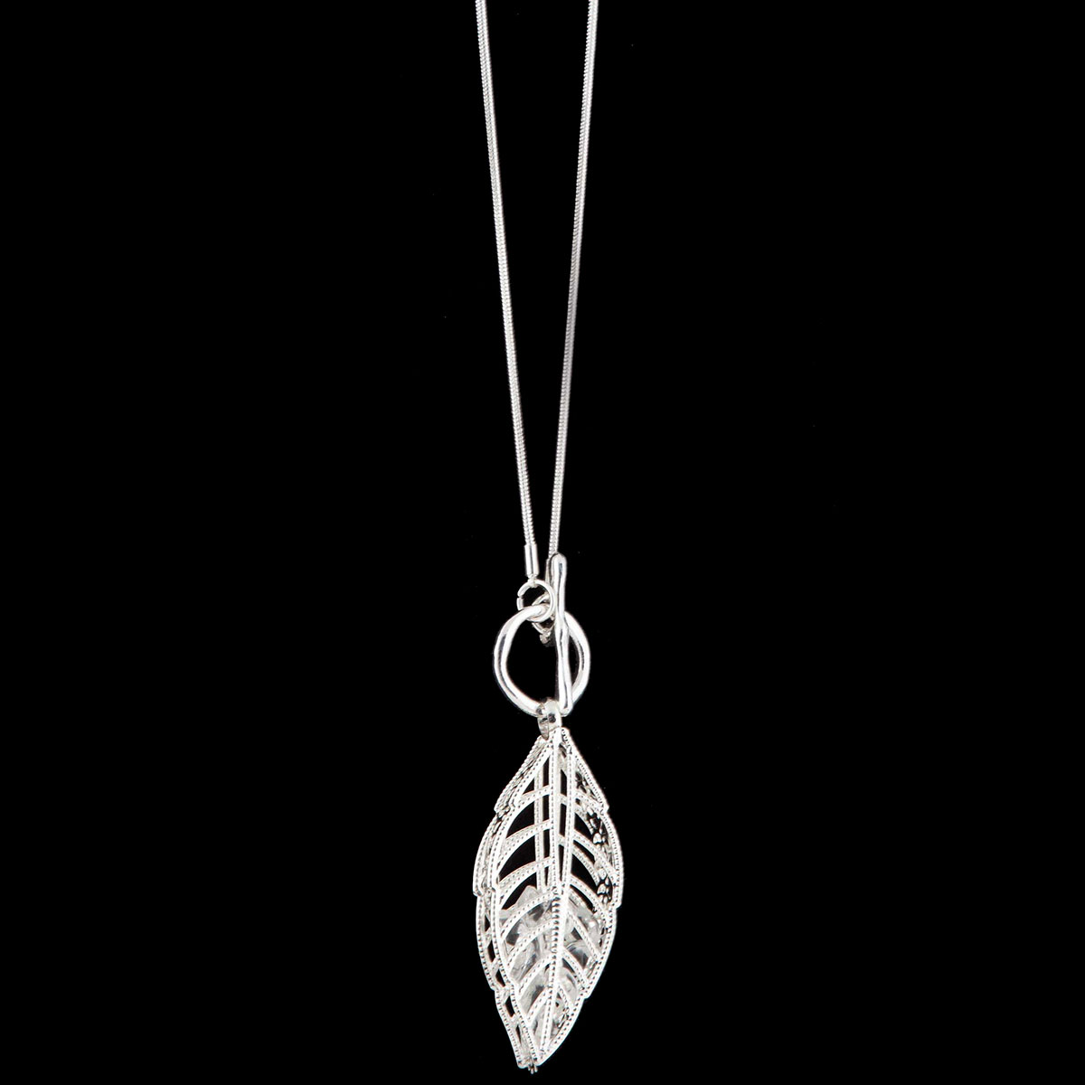 Silver Leaf with Front Toggle Clasp on Chain Necklace