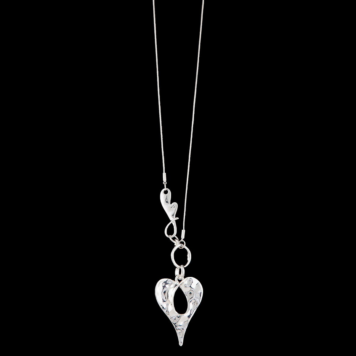 Silver Hammered Silver Double Heart on Chain Necklace