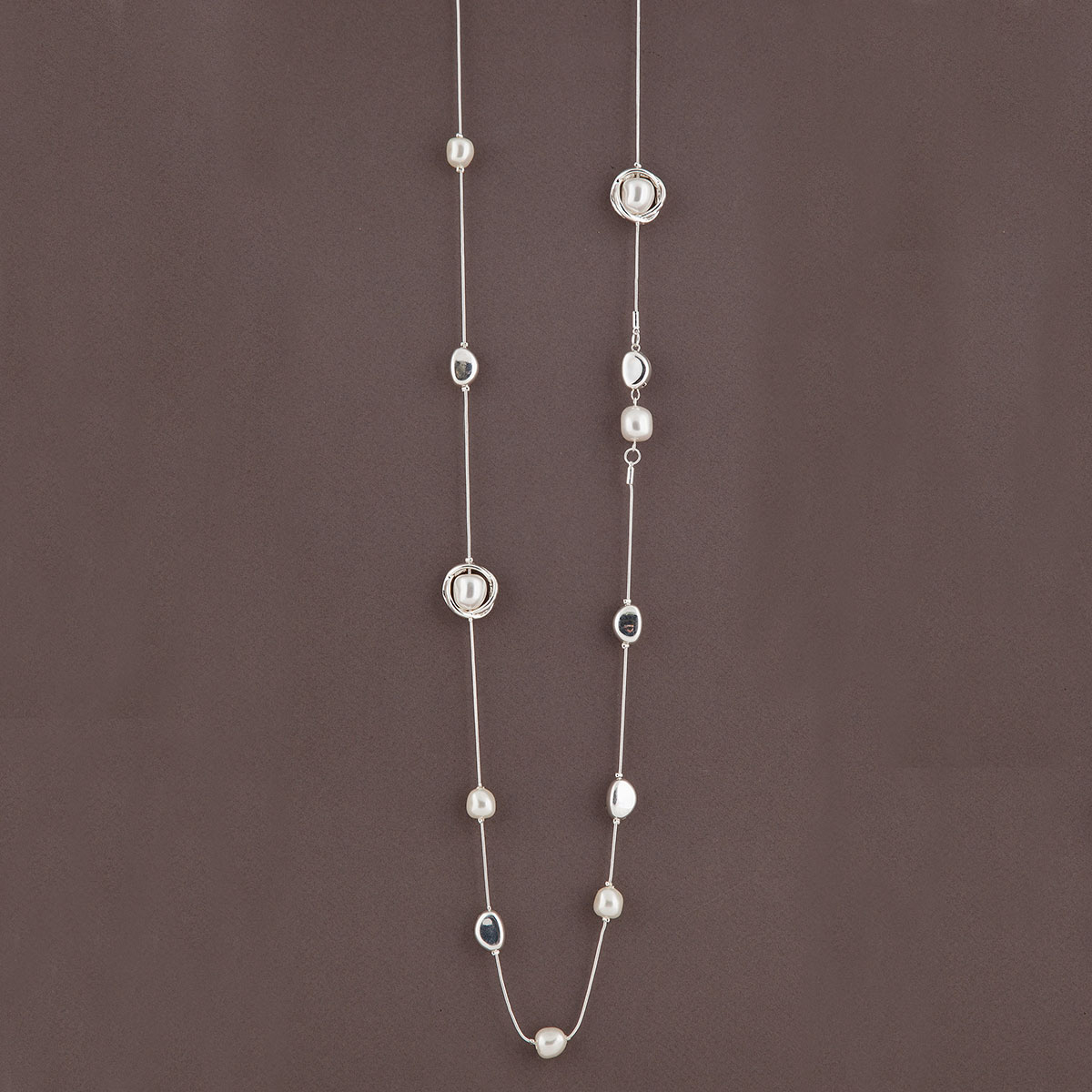 Silver Circles with Pearls on Chain Necklace