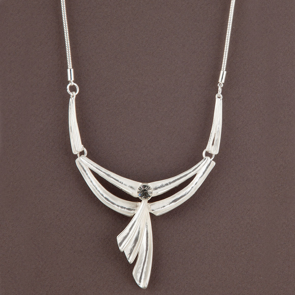 Satin Silver Drop Art Deco with Stone on Chain Necklace