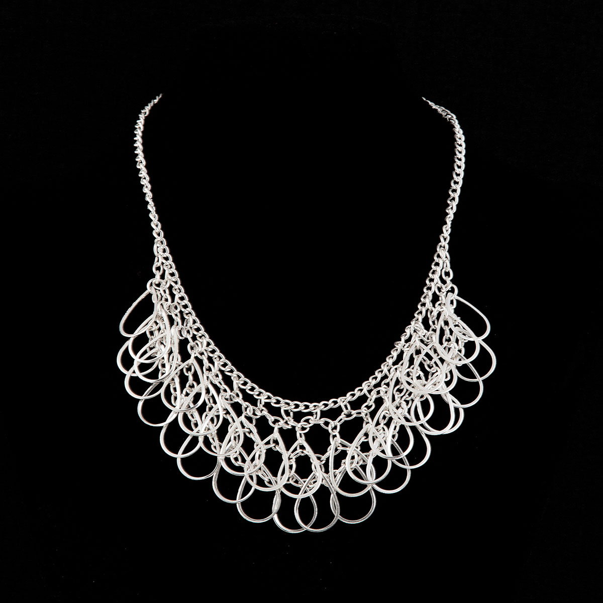 Silver Drop Multi Teardrop on Chain Necklace