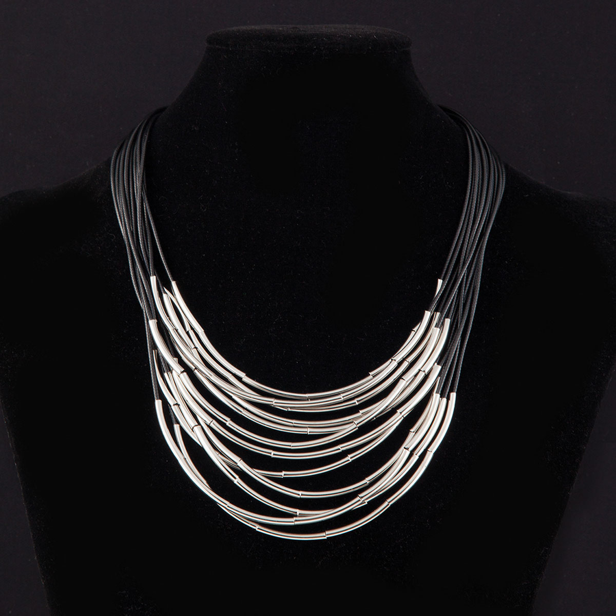 Silver Drop Bar Beads on Multi Black Cord Necklace