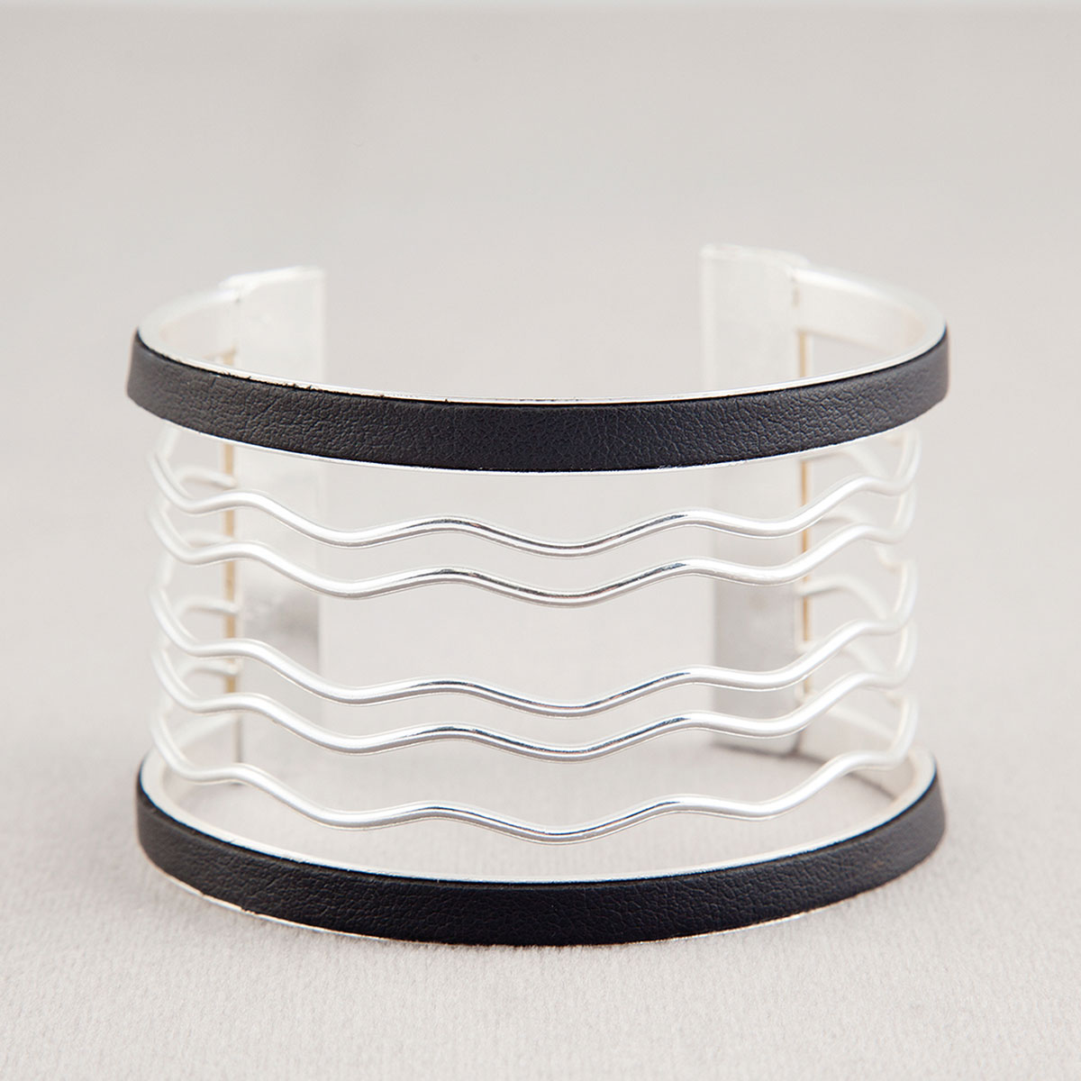 Silver Wave with Black Trim Cuff Bracelet